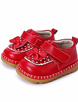 Girls' Flats First Walkers Leatherette Spring Fall Outdoor Casual Walking Magic Tape Low Heel Red Black Flat
