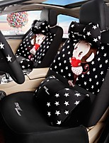 Car Seat Cushion Car Ceat Cushion Cets Of Family Car Cartoon Cute Ice Silk Cloth Material Black and White Stars-206