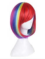 Synthetic Wig for Cosplay Short Straight Bobo Ombre Red/Yellow/Pink/Green Costume Wigs Cosplay Wigs