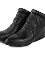 Women's Boots Comfort Cowhide Nappa Leather Spring Casual Comfort Black Flat