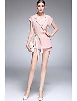 Chemise Pantalon Costumes Femme,Couleur Pleine Sortie Décontracté / Quotidien Mignon Printemps Eté Manches Courtes Micro-élastique