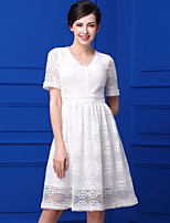 Bao yan Women's Casual/Daily Simple Lace DressPrint V Neck Knee-length Short Sleeve Lace Summer High Rise Inelastic Medium