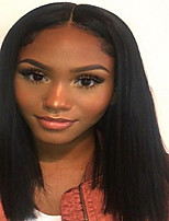 Glueless Lace Front Brazilian Virgin Hair  Short Remy Straight Wig  with Baby Hair for Black Women