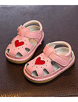 Girls' Flats First Walkers Cowhide Spring Fall Outdoor Casual Walking Magic Tape Low Heel Blushing Pink Ruby White Flat