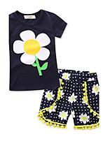 Mädchen Sets Modisch Geometrisch 100% Baumwolle Sommer Kurze Hose Kleidungs Set
