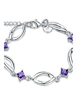 Exquisite Silver Plated Purple Square Crystal Chain & Link Bracelets Jewellery for Women Accessiories