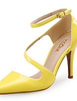 Women's Heels Club Shoes Synthetic Patent Leather Spring Summer Wedding Office & Career Dress Stiletto Heel Yellow Beige Black 3in-3 3/4in