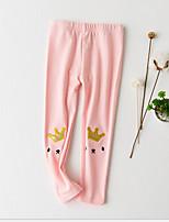 Girls' Solid Cartoon Pants-Cotton Spring Fall