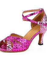 Персонализируемая Для женщин Латина Дерматин Сандалии Кроссовки Профессиональный стиль Цветы На толстом каблуке Красный 5 - 6,8 см