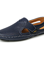 Men's Loafers & Slip-Ons Comfort Light Soles Others Leather Spring Fall Casual Flat Heel Blue Brown Black Walking Shoes