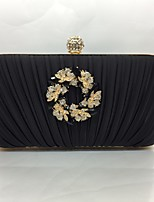 Women's Evening Bag Silk All Seasons Event/Party Baguette Push Lock Silver Black Gold Pool