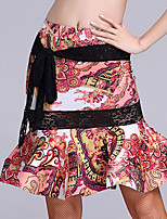 Latin Dance Bottoms Women's Performance Ice Silk Pattern/Print 1 Piece Natural Skirts