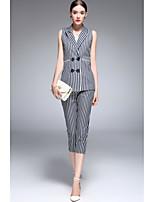 Chemise Pantalon Costumes Femme,Rayé Sortie Décontracté / Quotidien Sophistiqué Printemps Eté Sans Manches Micro-élastique