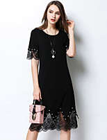 MEIDONGTAI Women's Casual/Daily Party Sheath DressSolid Round Neck Knee-length  Length Sleeve Polyester Spring Summer Mid Rise Micro-elastic Thin