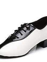Не персонализируемая Для мужчин Латина Дерматин На каблуках Для закрытой площадки На низком каблуке Черно-белый 2,5 - 4,5 см