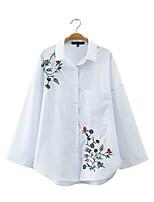 Feminino Camisa Social Para Noite Casual Sensual Simples Moda de Rua Verão,Floral Estampado Algodão Colarinho de Camisa Manga LongaFina