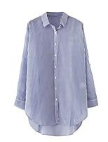 Camicia Da donna Sensuale Semplice Moda città Estate,A strisce Colletto Cotone Manica lunga Sottile Medio spessore