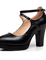 Women's Heels Basic Pump Leather Spring Fall Office & Career Basic Pump Chunky Heel Black 3in-3 3/4in