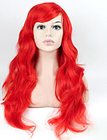 Red Color Synthetic Hair Women Long Curly Wig High Temperature Wigs