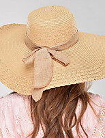 Women's Straw Sun Hats with Linen Bowknot Foldable Holidays Wide Brim Hats