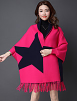 Women's Casual/Daily Simple Long Cardigan,Geometric V Neck Long Sleeve Others Spring Thin Micro-elastic