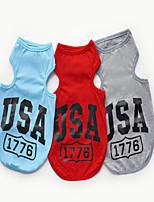 Chien Tee-shirt Vêtements pour Chien Décontracté / Quotidien Sportif Lettre et chiffre Gris Rouge Bleu