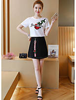 Women's Casual/Daily Cute Summer T-shirt Skirt Suits,Floral Round Neck Short Sleeve Embroidered Micro-elastic