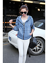 Women's Going out Casual/Daily Sexy Cute Spring Fall Denim Jacket,Solid Hooded Long Sleeve Regular Cotton