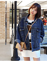 Women's Casual/Daily Simple Spring Summer Denim Jacket,Letter Square Neck Long Sleeve Regular Linen