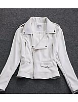 Для женщин На выход осень Кожаные куртки V-образный вырез,просто Однотонный Короткие Длинный рукав,Others