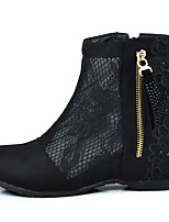 Women's Boots Club Shoes Fabric Spring Summer Dress Fashion Boots Flat Heel Black Flat