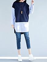 Feminino Camisa Social Para Noite Casual Férias Simples Fofo Primavera Verão,Listrado Algodão Decote Redondo Manga Longa Fina
