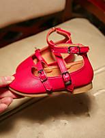 Девочки Сандалии Удобная обувь Дерматин Весна Лето Повседневные Для праздника Удобная обувь На плоской подошве Черный КрасныйНа плоской