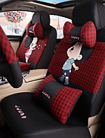 Car Seat Cushion Car Ceat Cushion Cets Of Family Car Cartoon Cute Ice Silk Cloth Material Black And Red Plaid-209