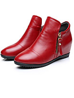 Women's Boots Comfort Cowhide Nappa Leather Spring Casual Red Orange White Flat
