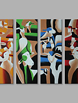 IARTS Oil Painting Modern Abstract Colorful Cows Looking Around Set of 4 Art Acrylic Canvas Wall Art For Home Decoration