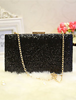 Women Evening Bag PU All Seasons Event/Party Party & Evening Club Rectangle Rhinestone Magnetic Silver Black Gold