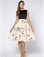 Для женщин Офис Большие размеры Винтаж Изысканный С летящей юбкой Платье Цветочный принт,Круглый вырез До колена Без рукавов Полиэстер