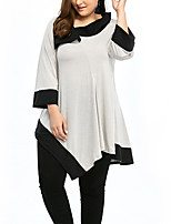 Women's Plus Size Going out Casual/Daily Simple Street chic Loose Irregularity  All Match Spring Fall T-shirtColor Block Shirt Collar  Sleeve  Medium