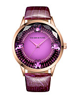 Women's Fashion Watch Quartz Water Resistant / Water Proof Three Time Zones Leather Band Sparkle Black Blue Purple