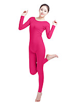 Unisex Lycra Spandex Unitard Scoop Neck Long Sleeves Footless Elastane Bodysuit Costume