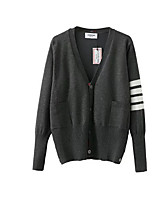 Men's Regular Cardigan,Color Block V Neck Long Sleeve Wool Fall Medium Micro-elastic