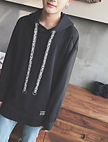 Men's Daily Sweatshirt Solid Hooded Inelastic Cotton Long Sleeve Spring Fall