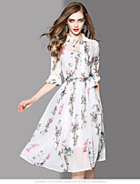 OYCP Women's Casual/Daily Sheath Dress,Floral Round Neck Midi Short Sleeve Polyester Summer High Rise Micro-elastic Thin