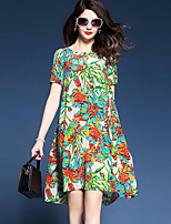 Women's Plus Size Going out Street chic Loose Dress,Print Round Neck Above Knee Short Sleeve Nylon Summer Mid Rise Micro-elastic Medium
