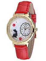 Женские Модные часы Кварцевый Кожа Группа Синий Красный Розовый