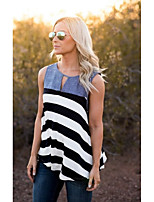 Women's Casual/Daily Vintage Simple Tank Top,Striped Round Neck Sleeveless Cotton