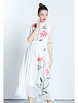 ZIYI Women's Going out Casual/Daily Beach Simple Chiffon Swing DressSolid Floral Crew Neck Midi Short Sleeve Polyester Summer Mid Rise