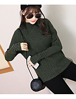 Women's Going out Casual/Daily Cute Regular Cardigan,Solid Crew Neck Long Sleeve Others Spring Medium Micro-elastic