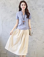 Women's Casual/Daily Holiday Simple Shirt Skirt Suits,Solid Stand Short Sleeve Micro-elastic